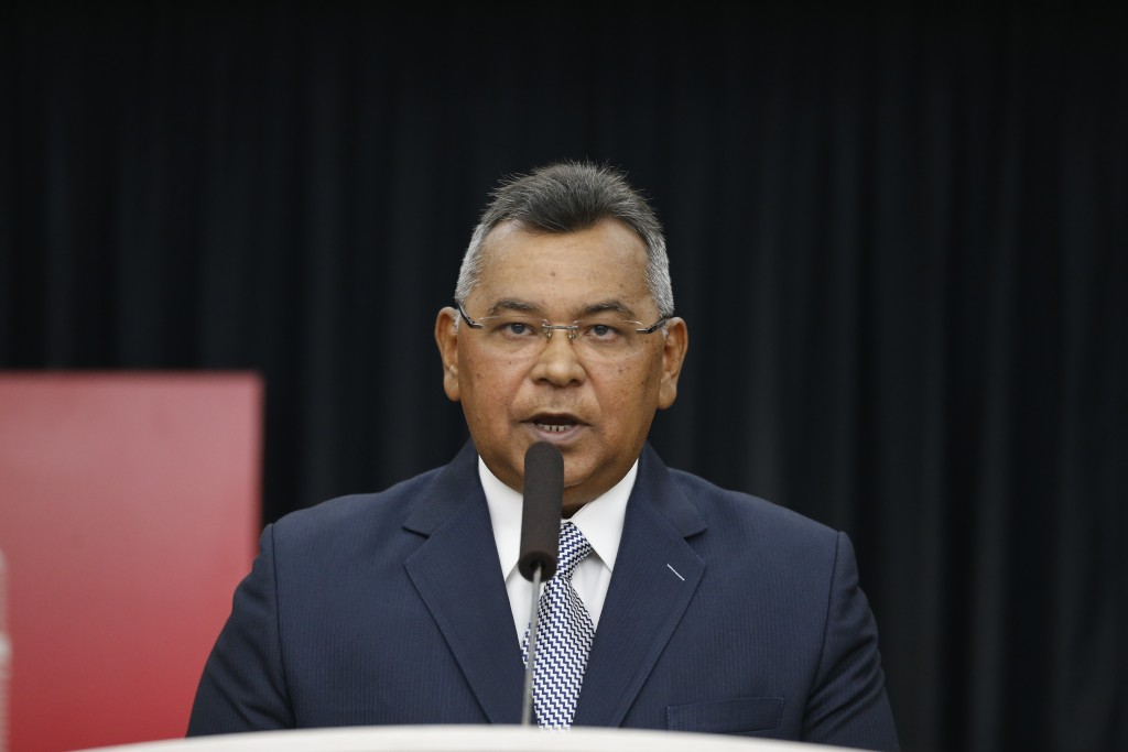 FILE - In this Sept. 13, 2019 file photo, Venezuelan Minister of Internal Affairs, Justice and Peace, Nestor Reverol, gives a press conference in Cara...