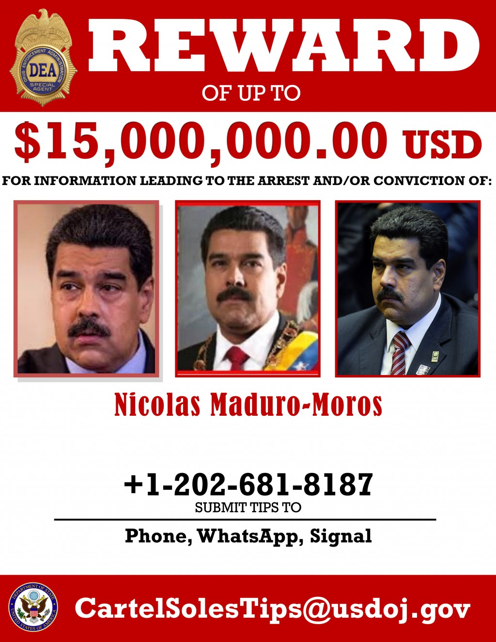 This image provided by the U.S. Department of Justice shows a reward poster for Nicolas Maduro that was released on Thursday, March 26, 2020. The U.S....