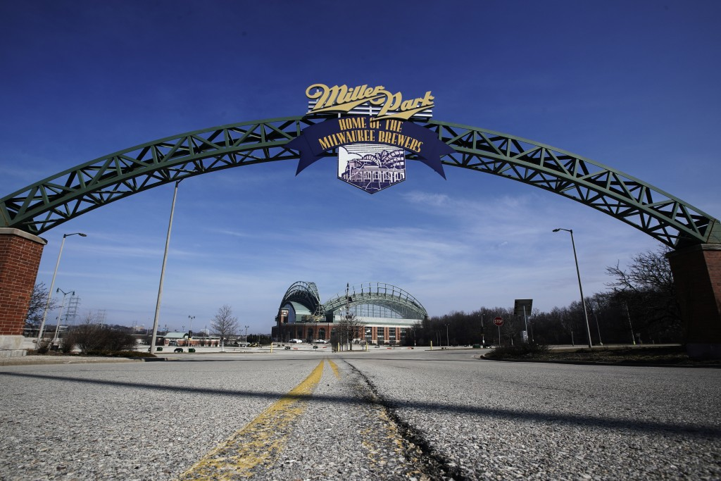 Miller Park is seen March 24, 2020, in Milwaukee. The Brewers were supposed to host Opening Day on Thursday, but the season start was postponed by Maj...