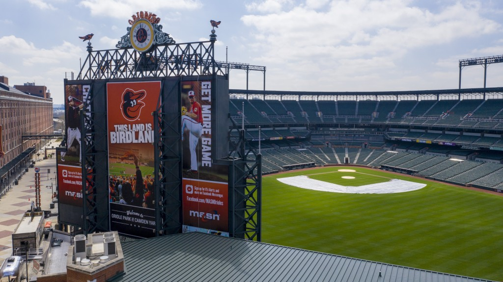 In this aerial photo, Oriole Park at Camden Yards is closed on what would've been Opening Day, Thursday March 26, 2020, in Baltimore, Md. The Orioles ...