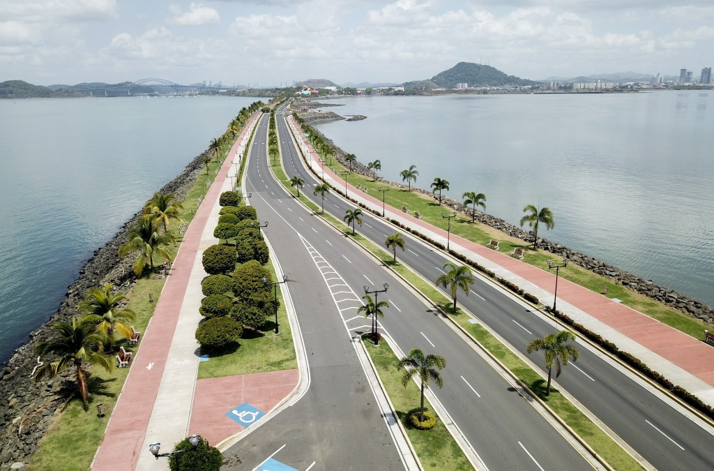 Panama City's causeway is seen devoid of traffic or pedestrians, as Panama hunkers down to confront the spread of the new coronavirus, early morning S...