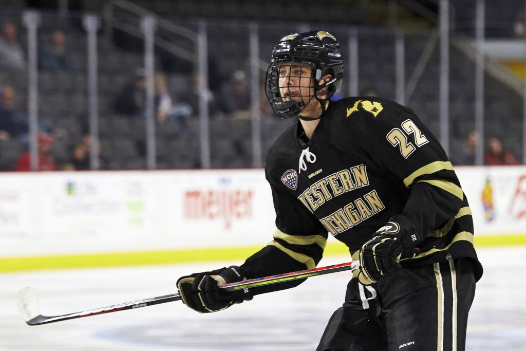 FILE - In this Oct. 11, 2019, file photo, Western Michigan forward Austin Rueschhoff (22) skates Ohio State during an NCAA college hockey game in Tole...