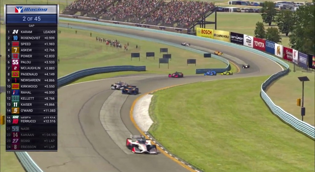 In this image taken from video provided by iRacing IndyCar, IndyCar driver Scott McLaughlin, front, competes in the American Red Cross Grand Prix virt...
