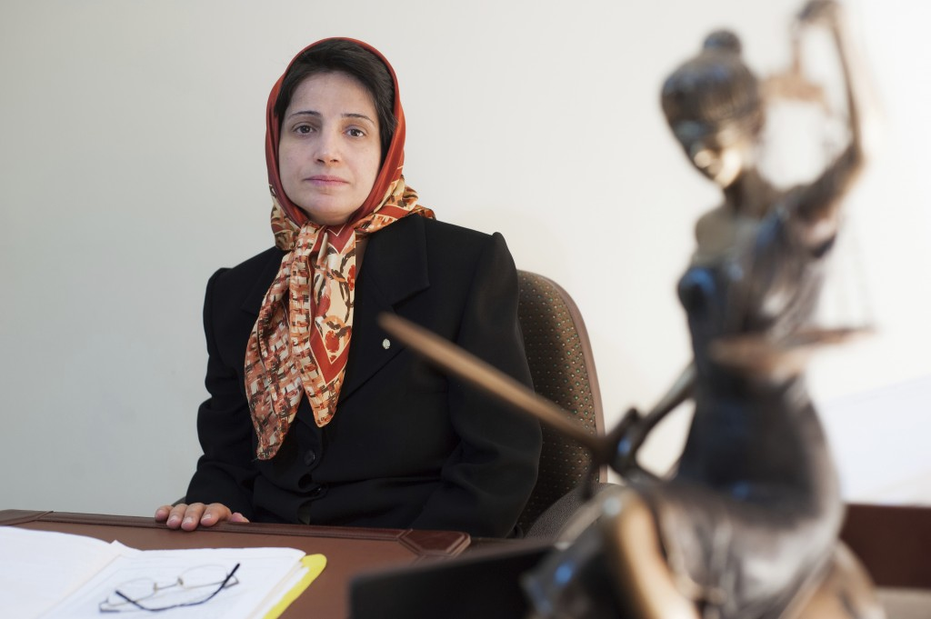 FILE - In this Nov. 1, 2008 file photo, Iranian human rights lawyer Nasrin Sotoudeh, poses for a photograph in her office in Tehran, Iran. Sotoudeh is...