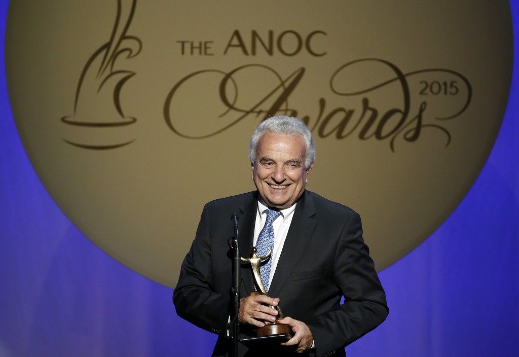 FILE - In this Thursday, Oct. 29, 2015 filer, Francesco Ricci Bitti speaks after receiving the award for Outstanding Lifetime Achievement, during an A...