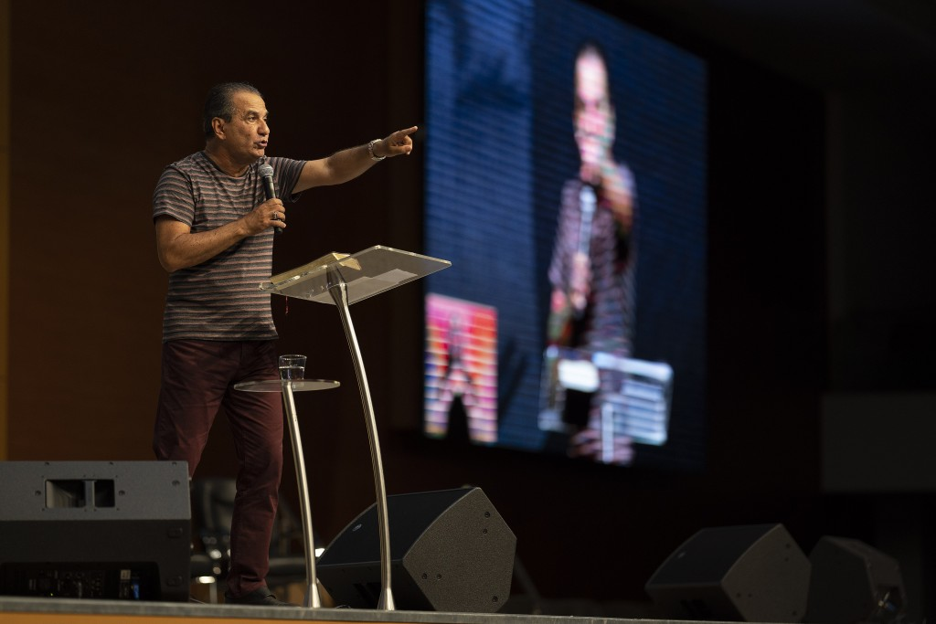 Pastor Silas Malafaia delivers a sermon during a service transmitted on live through social networks, at the empty Assembly of God Victory in Christ C...