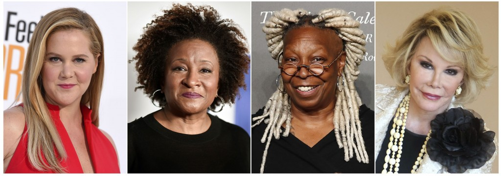 This combination photo shows comedians, from left, Amy Schumer, Wanda Sykes, Whoopi Goldberg and Joan Rivers, whose comedy will be featured on a new S...