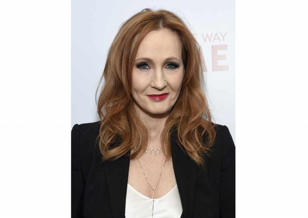 "FILE - This Dec. 11, 2019 file photo shows J.K. Rowling, author of the ""Harry Potter"" book series, at the premiere of ""Finding the Way Home""  in New Y..."