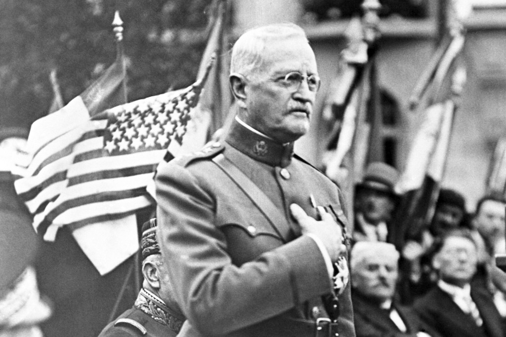 FILE - In this Sept. 15, 1935, file photo, General John J. Pershing makes a speech during the ceremony of planting an oak tree named after him to cele...
