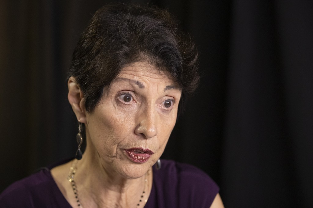FILE - In this June 19, 2019, file photo, Diane Foley, mother of journalist James Foley, who was killed by the Islamic State terrorist group in a grap...