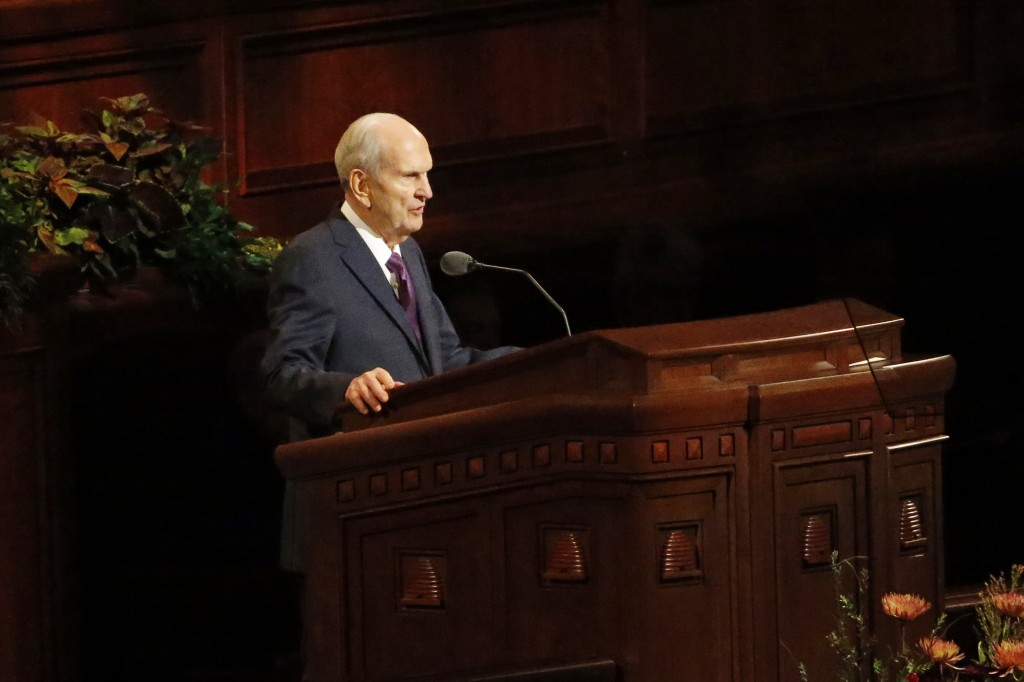 FILE - In this Oct. 5, 2019, file photo, President Russell M. Nelson speaks during The Church of Jesus Christ of Latter-day Saints' twice-annual churc...