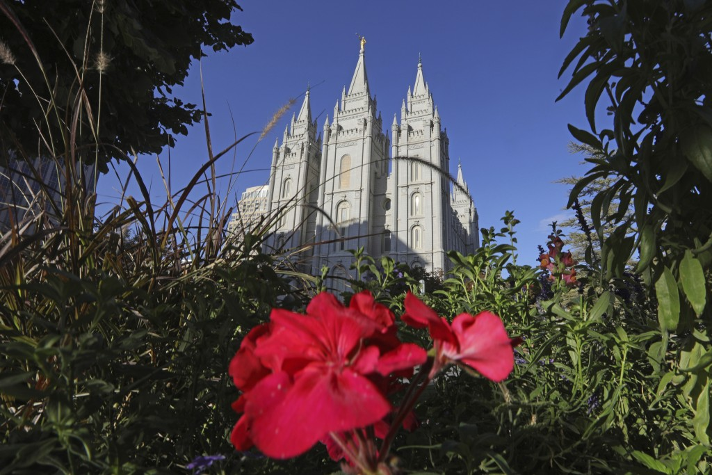FILE - This Oct. 4, 2019, file photo, shows the Salt Lake Temple at Temple Square in Salt Lake City. For the first time in more than 60 years, top lea...