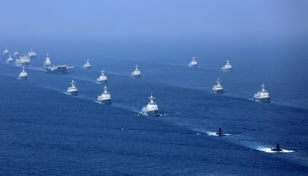 Chinese aircraft carrier Liaoning and its strike group in the South China Sea.