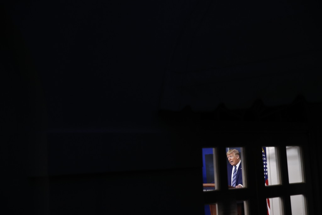 President Donald Trump speaks during a coronavirus task force briefing at the White House, Sunday, April 5, 2020, in Washington. (AP Photo/Patrick Sem...