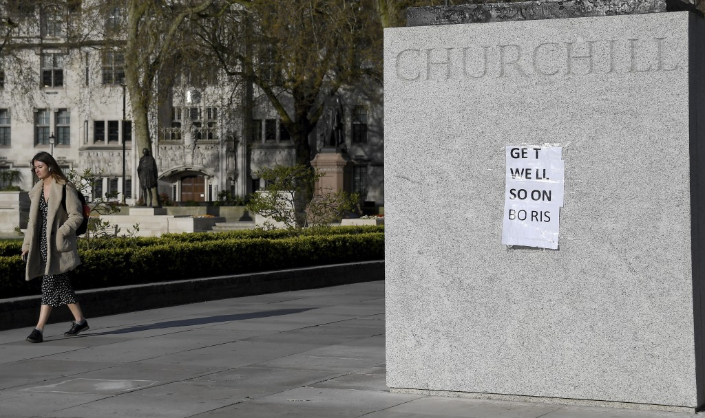 People have put a paper saying 'Get Well Soon Boris' on the statue of Winston Churchill in central London as British Prime Minister Boris Johnson was ...
