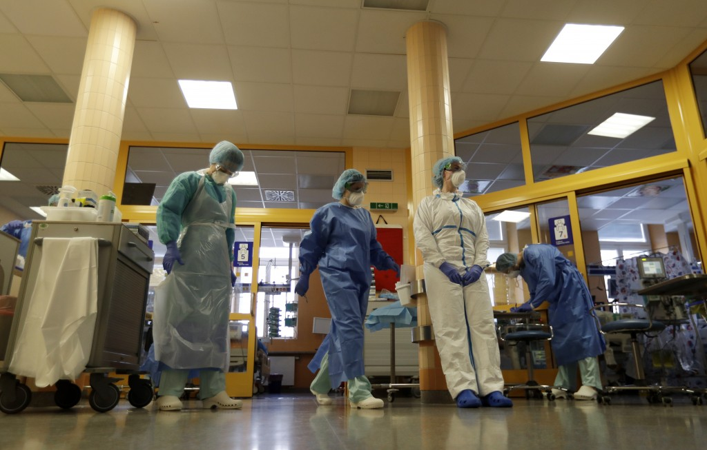 Healthcare workers during their shift in an intensive care unit (ICU) at the General University Hospital where patients infected with the COVID-19 are...