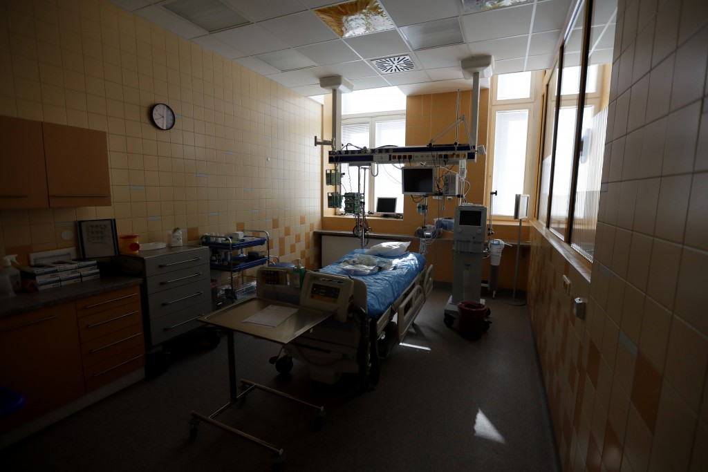 A view of an empty room prepared for a COVID-19 patient in an intensive care unit (ICU) at the General University Hospital in Prague, Czech Republic, ...