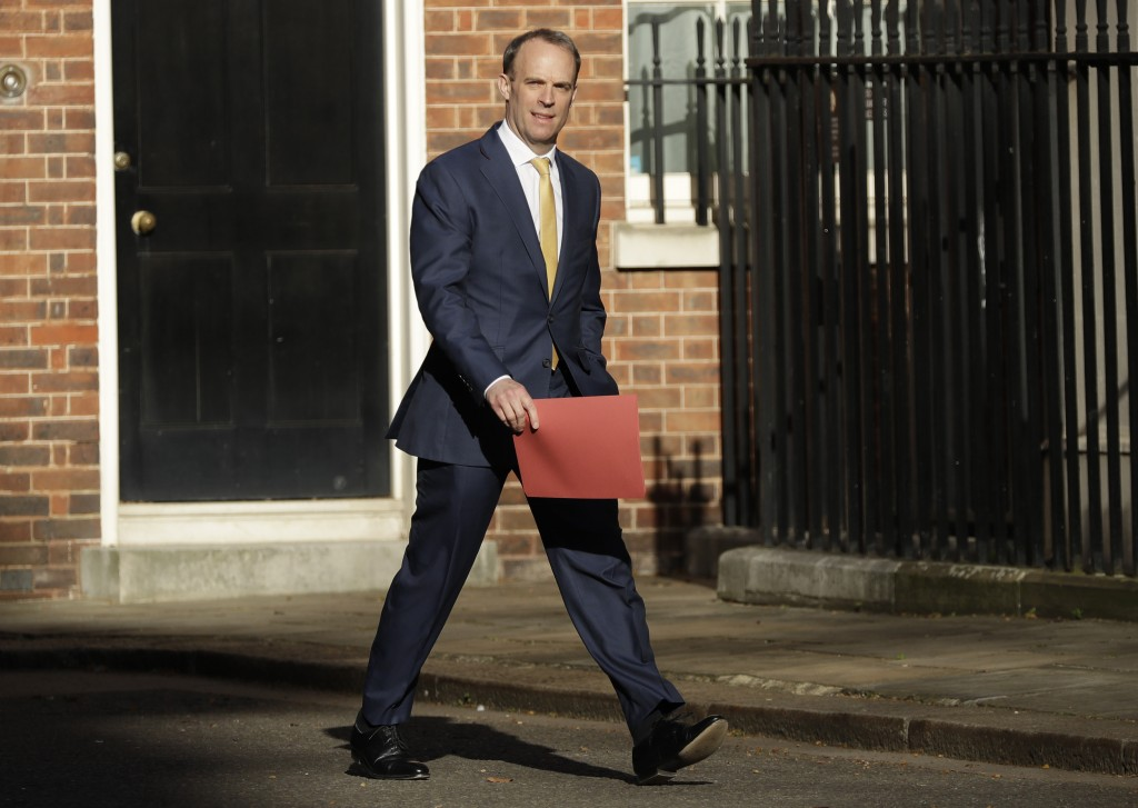 Britain's Secretary of State for Foreign Affairs, Dominic Raab, arrives in Downing Street as British Prime Minister Boris Johnson was moved to intensi...