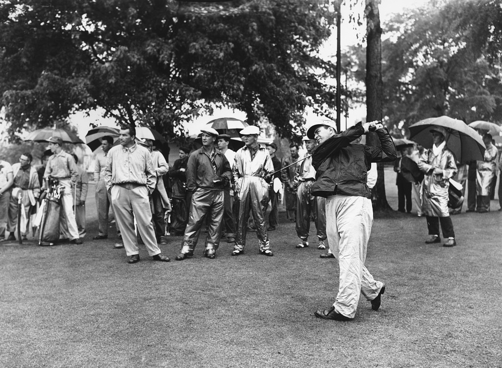 FILE - In this April 12, 1954, file photo, Sam Snead, White Sulphur Springs, W. Va., tees off in an 18-hole Masters playoff at Augusta National Golf C...