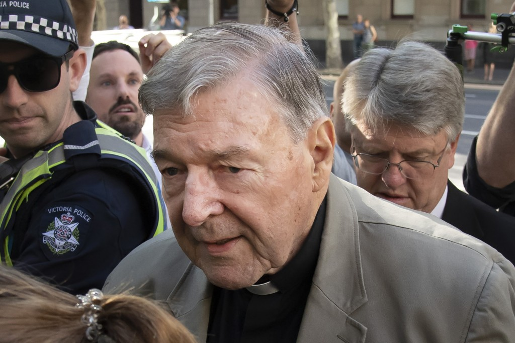FILE - In this Feb. 27, 2019, file photo, Cardinal George Pell arrives at the County Court in Melbourne, Australia. Australia's highest court on Tuesd...