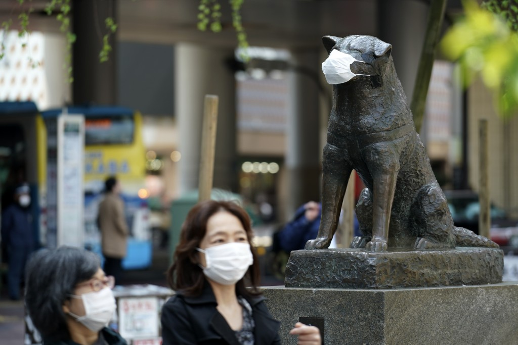 """A statue of a Japanese Akita dog named """"Hachiko"""" wearing a face mask is seen near Shibuya Station Wednesday, April 8, 2020, in Tokyo. Japanese Prime M..."""