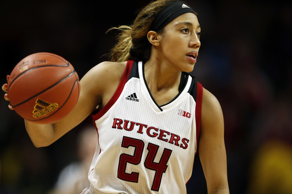 FILE - In this Friday, Dec. 28, 2018, file photo, Rutgers guard Arella Guirantes handles the ball against Northwestern during an NCAA college basketba...