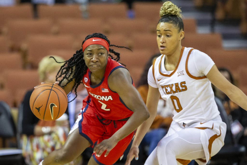 FILE - In this Sunday, Nov. 17, 2019, file photo, Arizona guard Aari McDonald (2) drives around guard Celeste Taylor (0) during an NCAA college basket...