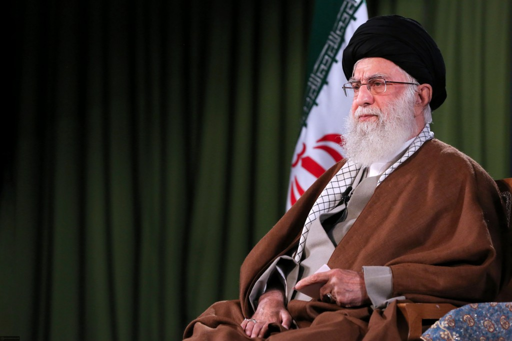 In this picture released by an official website of the office of the Iranian supreme leader, Supreme Leader Ayatollah Ali Khamenei addresses the natio...