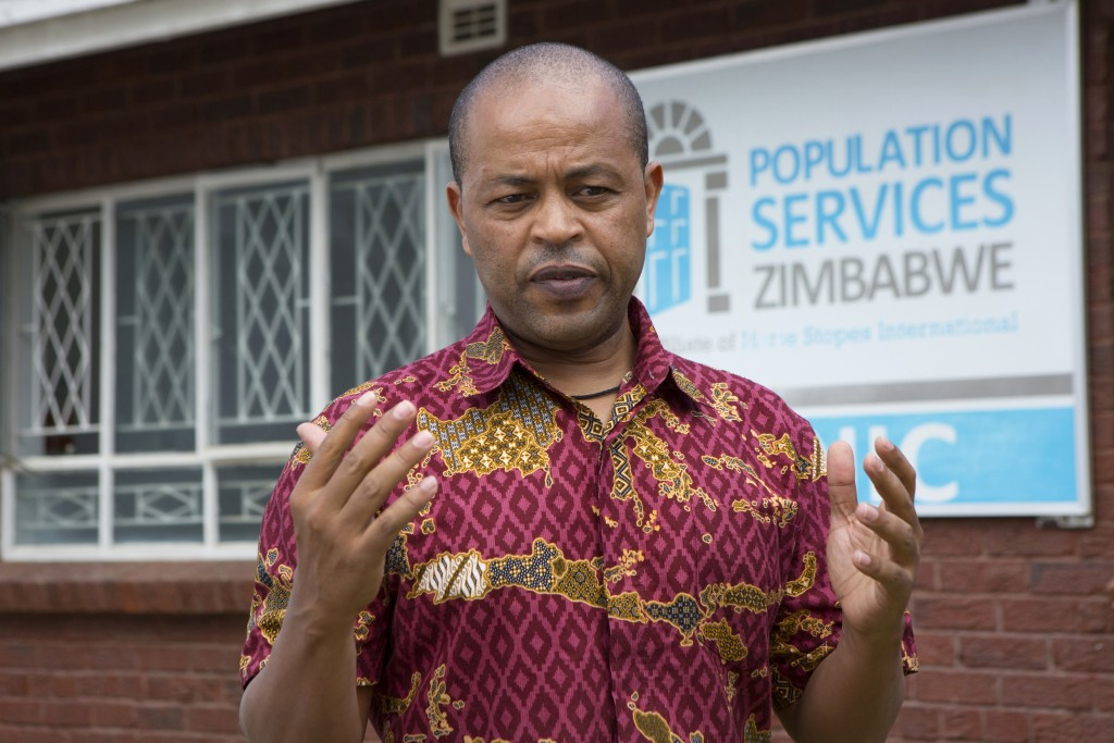 In this Tuesday, April 7, 2020 photo, Abebe Shibru, Zimbabwe's director of  Marie Stopes International - a sexual and reproductive healthcare service,...