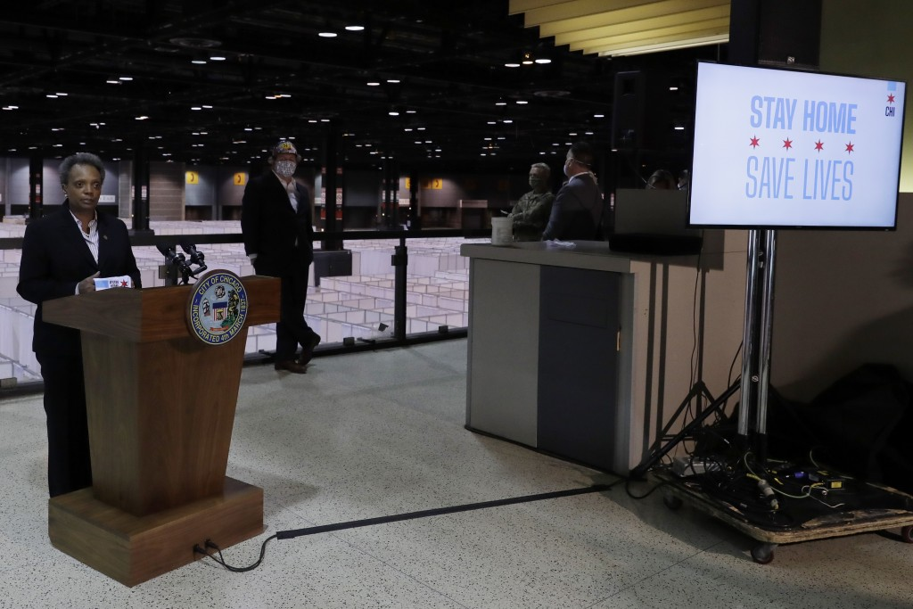 Chicago Mayor Lori Lightfoot speaks during a news conference in Hall A at the COVID-19 alternate site at McCormick Place in Chicago, Friday, April 10,...