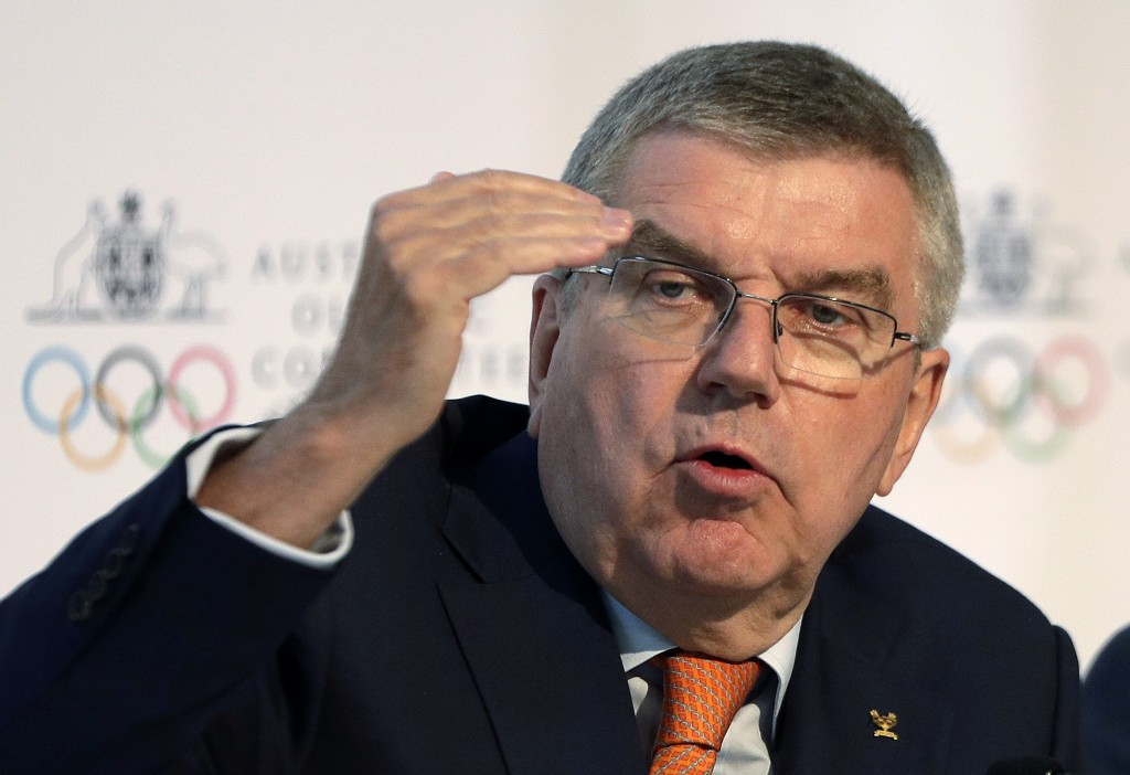 FILE - In this May 4, 2019, file photo, International Olympic Committee President Thomas Bach speaks at the Australian Olympic Committee annual genera...