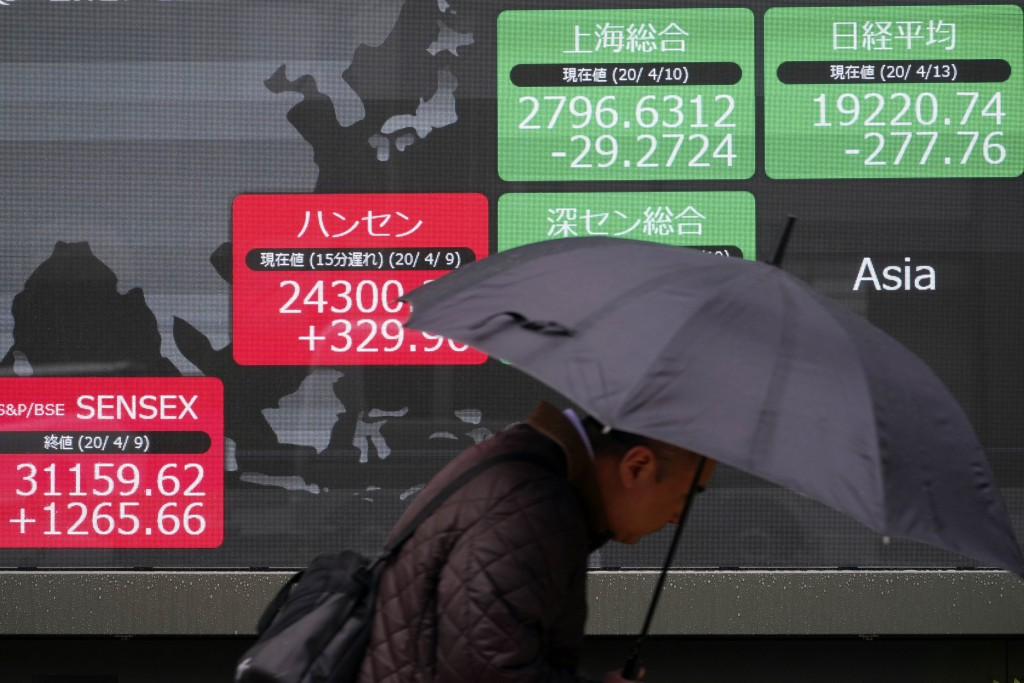 A man walks in the rain past an electronic stock board showing Japan's Nikkei 225 and other Asian countries' index at a securities firm in Tokyo Monda...