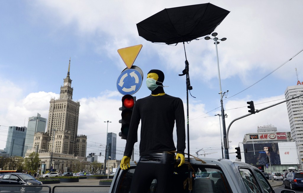 A symbol of male support is seen as women, self isolated in their cars to protect against coronavirus, take part in a protest against plans for the pa...