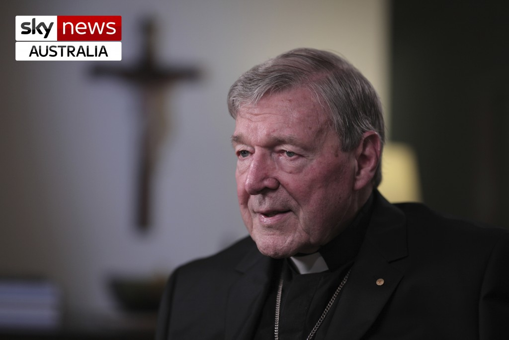In this April 10, 2020, photo provided by Sky News Australia, Cardinal George Pell is interviewed in Sydney following his release from prison after Au...