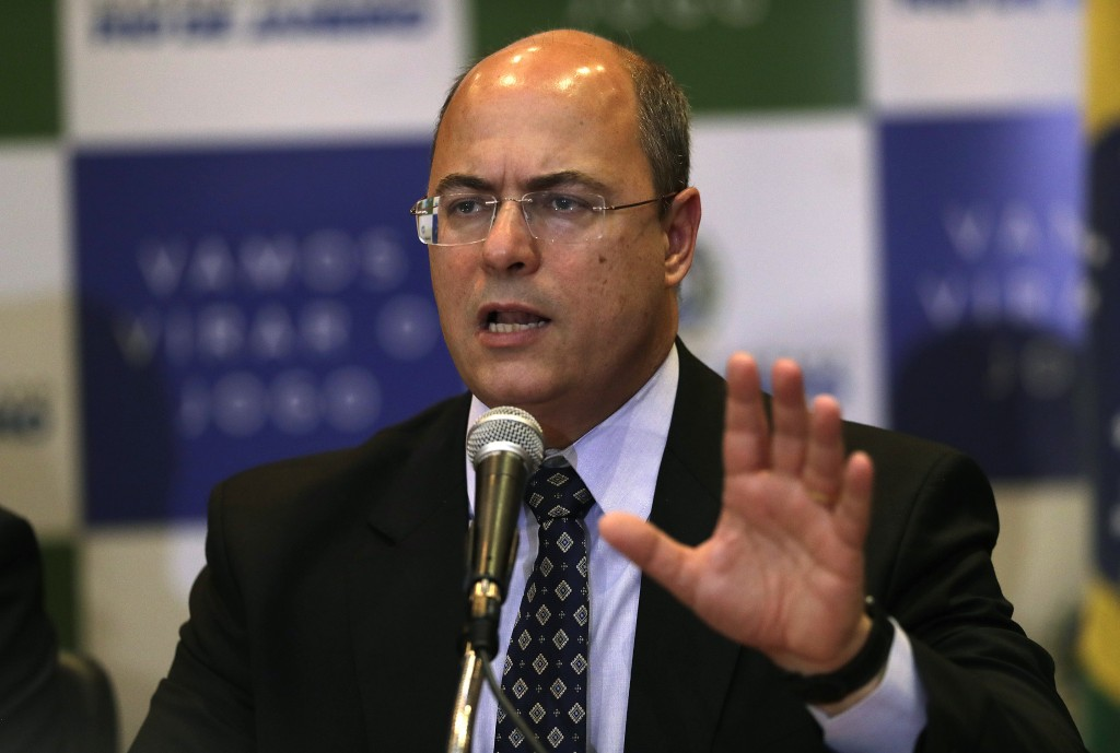 FILE - In this Sept. 23, 2019 file photo, Gov. Wilson Witzel speaks during a news conference in Rio de Janeiro, Brazil. Witzel said Tuesday, April 14,...