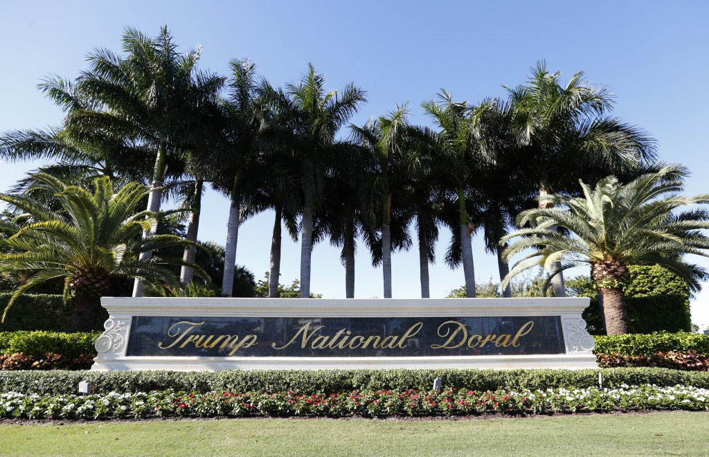 In this Nov. 20, 2019 photo, the entrance to the Trump National Doral resort is shown in Doral, Fla. The Trump golf resort in South Florida where Pres...