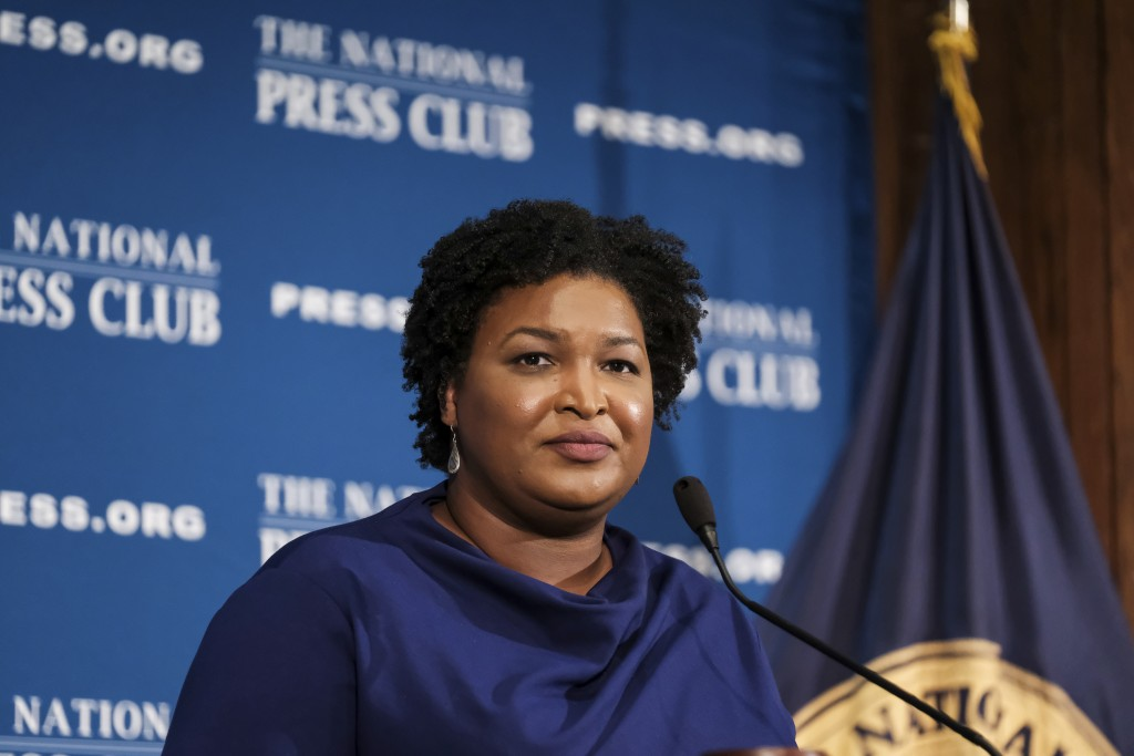 FILE - In this Nov. 15, 2019, file photo former Georgia House Democratic Leader Stacey Abrams, speaks at the National Press Club in Washington. Presum...