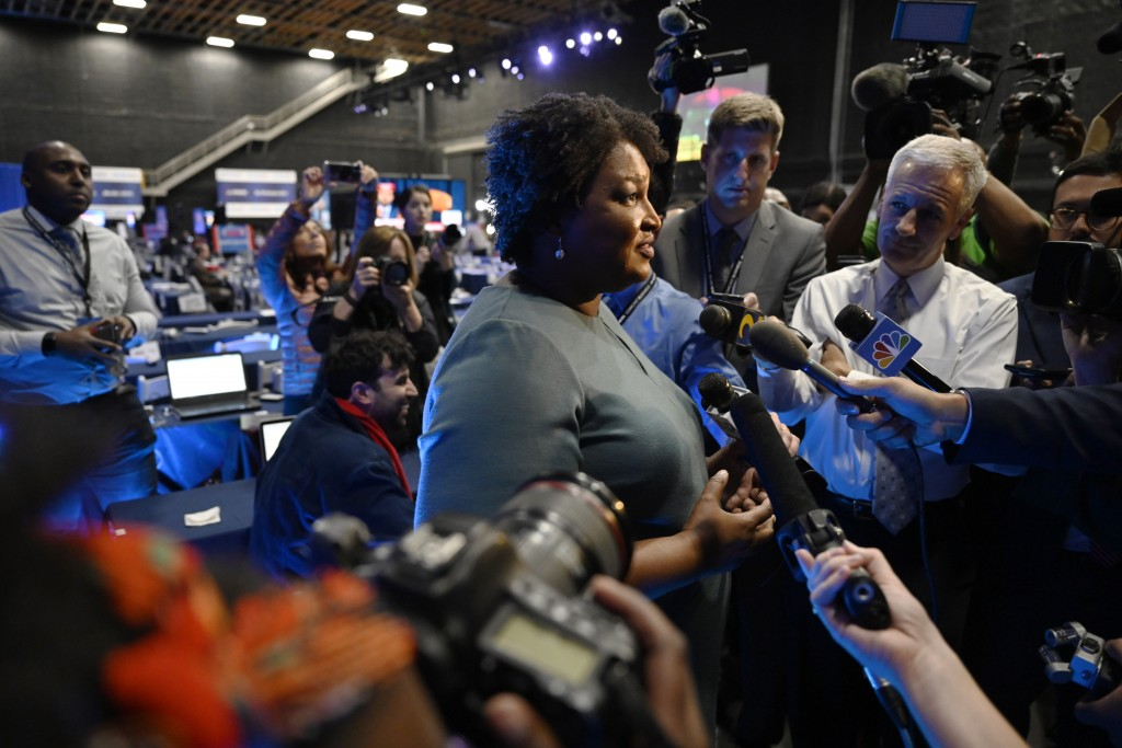 FILE - In this Nov. 20, 2019, file photo former Democratic candidate for Georgia Governor, Stacey Abrams speaks during an interview ahead of a presump...