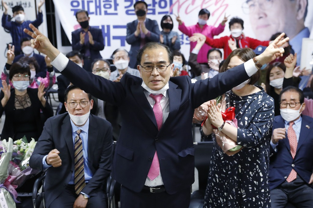 Thae Yong Ho, center, former North Korean diplomat, who defected to South Korea in 2016 and a candidate of the main opposition United Future Party, re...