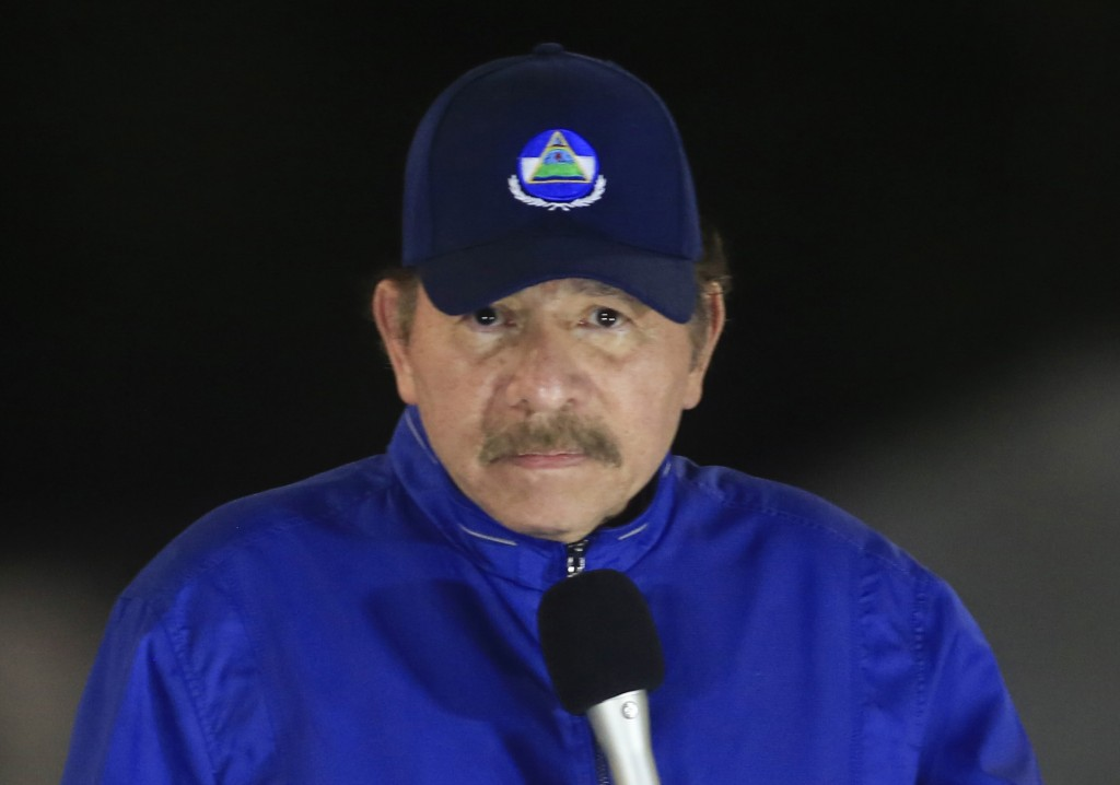 FILE - In this  March 21, 2019 file photo, Nicaragua's President Daniel Ortega speaks during the inauguration ceremony of a highway overpass in Managu...