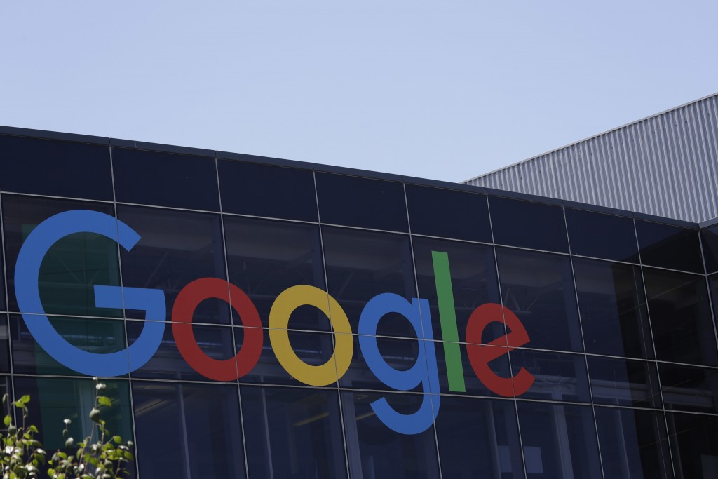 FILE - This Tuesday, July 19, 2016, file photo shows the Google logo at the company's headquarters in Mountain View, Calif. Facebook, Google, YouTube ...