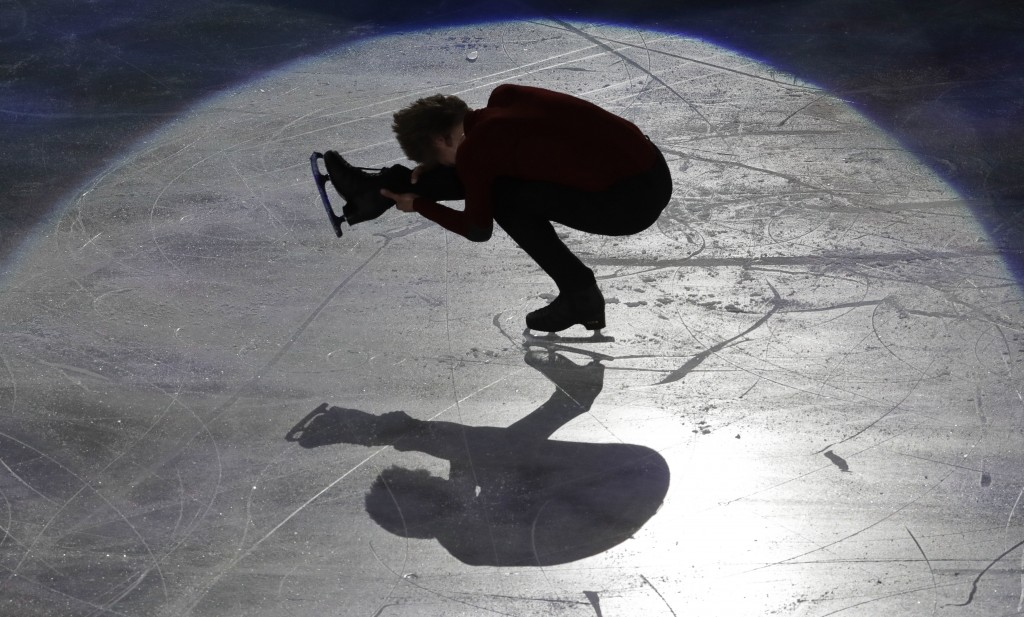 FILE - In this March 25, 2018, file photo, Deniss Vasiljevs of Latvia performs during the gala exhibition at the Figure Skating World Championships in...