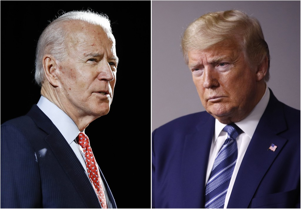 FILE - In this combination of file photos, former Vice President Joe Biden speaks in Wilmington, Del., on March 12, 2020, left, and President Donald T...
