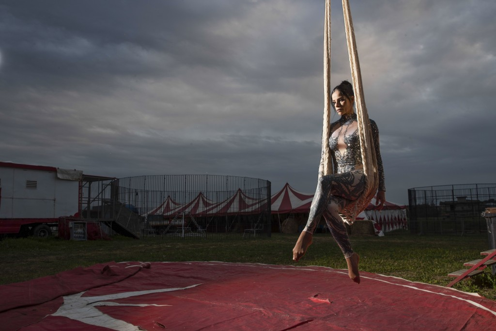 Otilia Maria Martinez Dos Santos, an artist of Portuguese origin, poses for a portrait at the Rony Roller circus, parked in the outskirts of Rome, Sat...