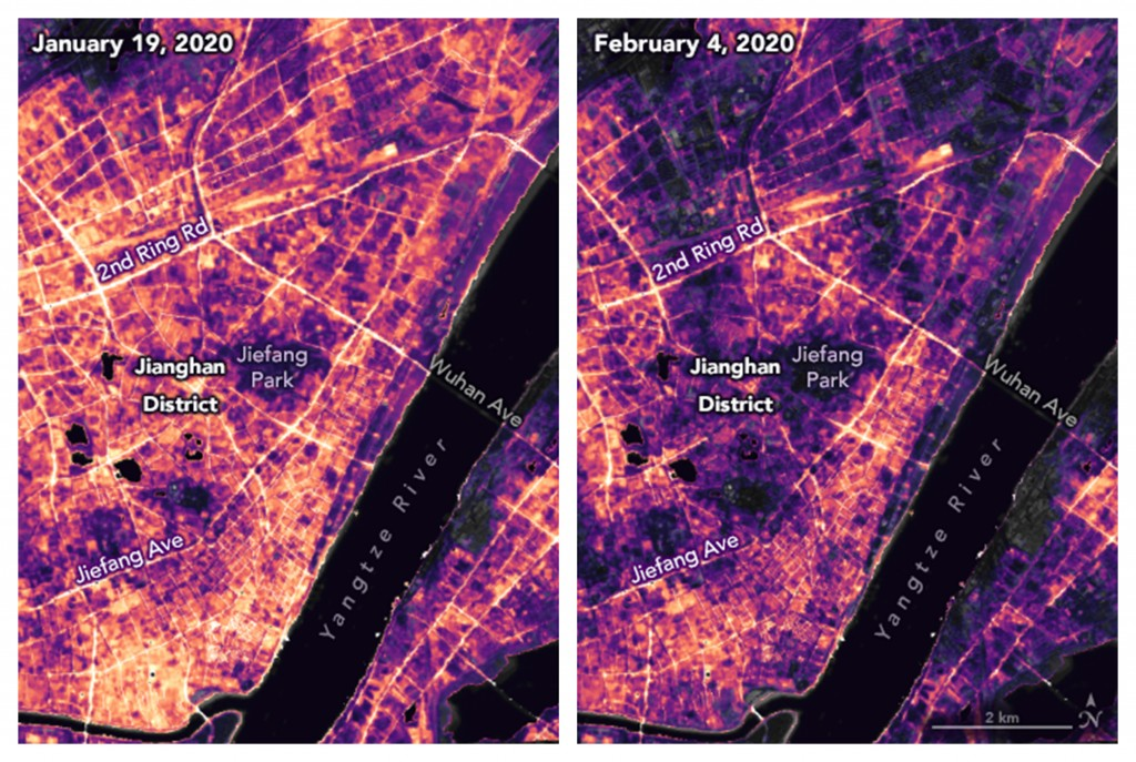 These satellite images made available by NASA show lighting changes in Jianghan District, a commercial area of Wuhan, China and nearby residential are...