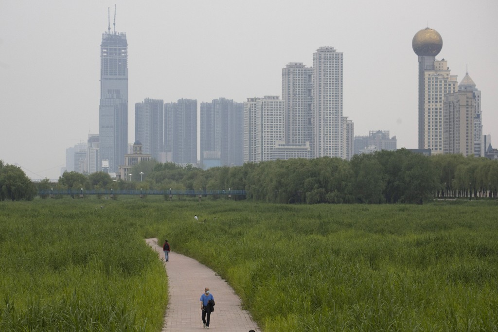 In this April 16, 2020, photo, a resident wearing a mask against the coronavirus walks through reed fields and the cityscape along the Yangtze River i...