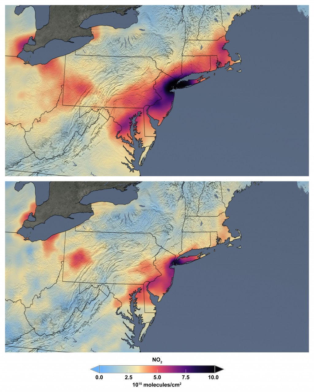 These maps made available by NASA shows the average concentration of nitrogen dioxide in March 2015-19, top, and in March 2020 as people stay home aga...