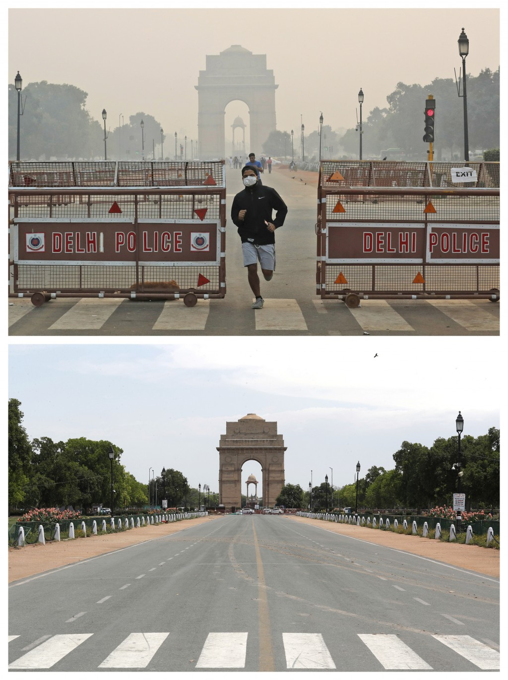 This combination of Monday, Oct. 28, 2019, top, and Monday, April 20, 2020 photos shows India Gate in New Delhi. India's air quality improved drastica...