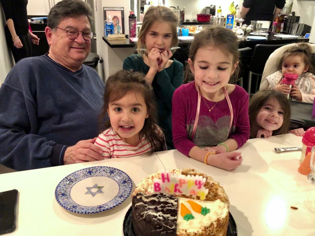 This February 2020 family photo shows Isaiah Kuperstein with his five granddaughters in New York at his last shabbat, and celebrating his upcoming 70t...