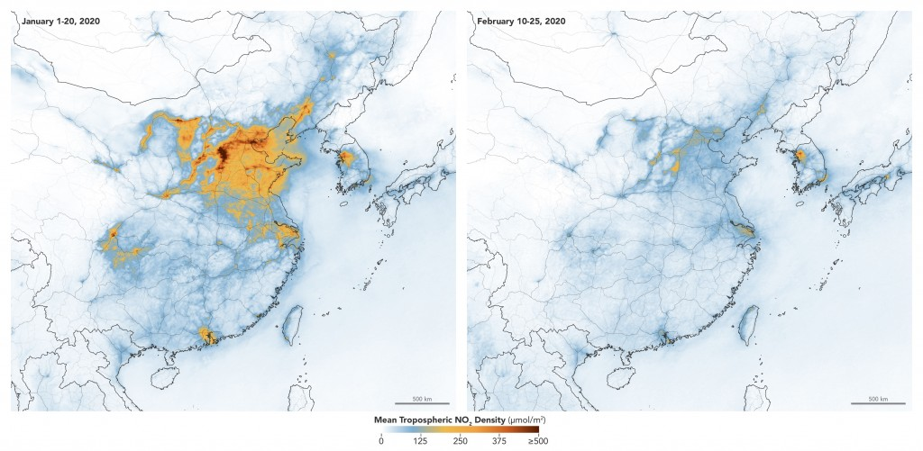 These maps made available by NASA show concentrations of nitrogen dioxide across China from January 1-20, 2020, before the quarantine against the COVI...